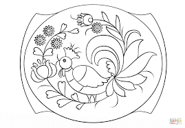 petrykivka painting pattern coloring page free printable