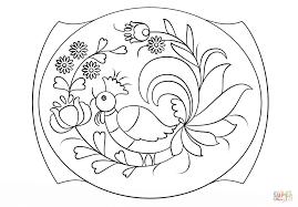 petrykivka painting pattern coloring page free printable