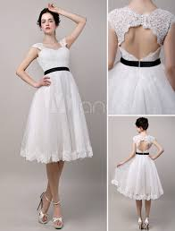 vintage inspired chic retro keyhole back lace tulle tea length
