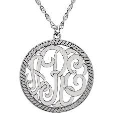 rope necklace pendant images Sterling silver 3 letter monogram w rope border pendant necklace jpeg