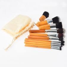 11 piece bamboo makeup brush set with travel bag ellore femme