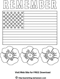 memorial day flag and poppies coloring page coloring books