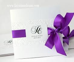 purple wedding invitations wedding card design looped purple ribbon white square glossy