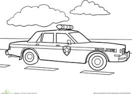 preschool vehicles worksheets police car coloring worksheet
