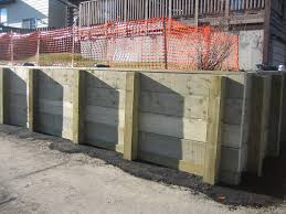 large wood retaining wall k landscapes