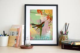 hummingbird art print bird poster wall art home decor