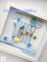 Personalised Baby Nursery Decor Baby Boy Birth Child Initial Box Frame New Baby Nursery Decor
