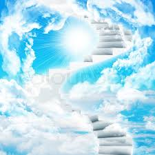spiral stairs in sky with clouds and sun concept background stock