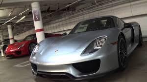 Porsche 918 Dark Blue - 4x porsche 918 spyder in carmel parking garage monterey car week