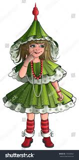 costume new year girl new year costume green christmas stock vector 735338941