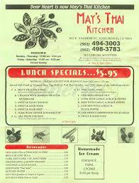 May May Kitchen May U0027s Thai Kitchen Menu Long Beach Dineries