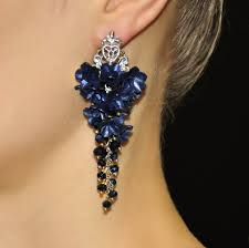 navy blue earrings blue earrings with flowers navy blue floral earrings