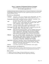 sample resume for entry level database developer professional