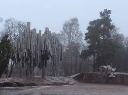 metallic tree picture of the sibelius monument helsinki