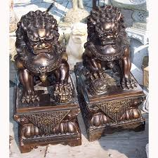 shishi statue pair of bronze shishi foo dogs japanese reference