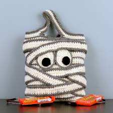 mummy halloween trick or treat bag hand crocheted by
