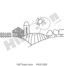 farm clipart 101203 coloring outline rolling hills