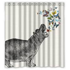 Animal Shower Curtains Hippo Butterfly Shower Curtain Animal Shower Curtain