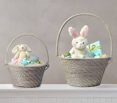 bunny baskets quinn gray collapsible handle easter baskets pottery barn kids