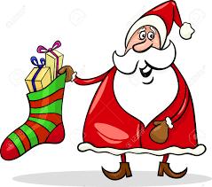 cartoon illustration of funny santa claus or papa noel with big
