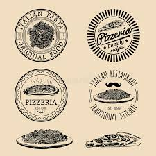 cuisine etc vector food logos modern pasta and pizza signs etc