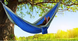 outdoor parachute fabric hammock for two person brown dark
