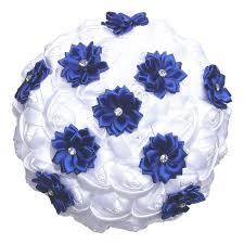 white and blue flowers white satin roses royal blue flower wedding bouquet diamond