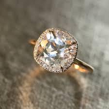 white topaz engagement ring 14k gold white topaz diamond halo engagement ring 9x9mm