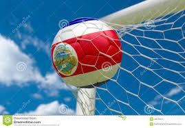 Costarica Flag Costa Rica Flag And Soccer Ball In Goal Net Stock Illustration