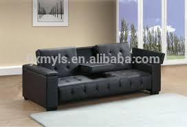classic click clack sofa bed with cup holder and storage view