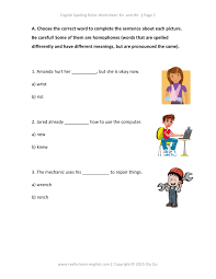 english spelling rules and printable worksheet for kn and wr at