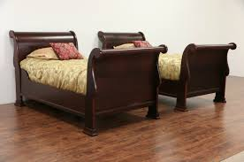 Antique Sleigh Bed Sold Pair Of 1910 Antique Size Mahogany Sleigh Beds
