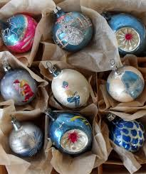 9 vintage glass christmas ornaments in blue some handpainted