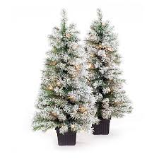 3 5 pre lit artificial urn trees white flocking with
