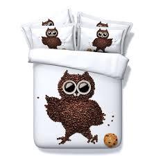 owl duvet cover twin hd 3d bedding set coffee bean owl duvet