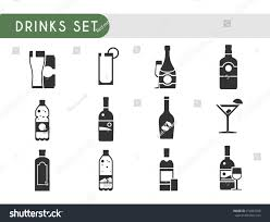 Set Vector Icons Drinks Wine Champagne Stock Vector 474867388