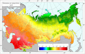 World Temperature Map by Agroatlas Climate Mean Annual Maximum Air Temperature In April
