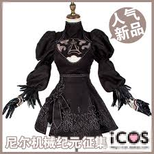nier automata 2b cosplay costume black dress halloween uniform