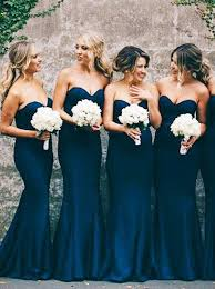 navy blue bridesmaids dresses buy mermaid sweetheart navy blue stretch satin sweep