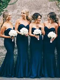 navy blue bridesmaid dress buy mermaid sweetheart navy blue stretch satin sweep