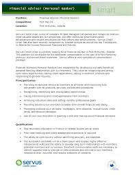 Personal Banker Job Description For Resume by Personal Banker Resume Objectives Resume Sample Writing Education