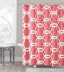 Lattice Design Curtains Coral And White Embossed Fabric Shower Curtain Chain Lattice