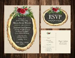 christmas wedding invitations wood slice christmas floral wedding invitations printable