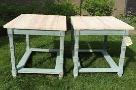 Blue Table Menu Pair Of Duck Egg Blue End Tables With White Washed Wood Top 80