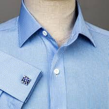 mini light blue gingham check formal business dress shirt designer lux