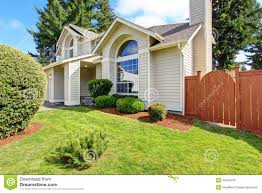 beautiful house exterior with arch window stock photo image