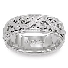 white gold mens wedding bands 11 wv7300w sovereign white gold mens wedding band from artcarved
