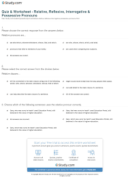 quiz u0026 worksheet relative reflexive interrogative u0026 possessive