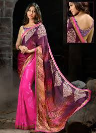 purple shade georgette brasso pink and purple shade designer saree