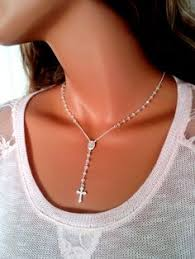 rosary necklace silver images High quality sterling silver rosary necklace pyrite rosaries cross jpg